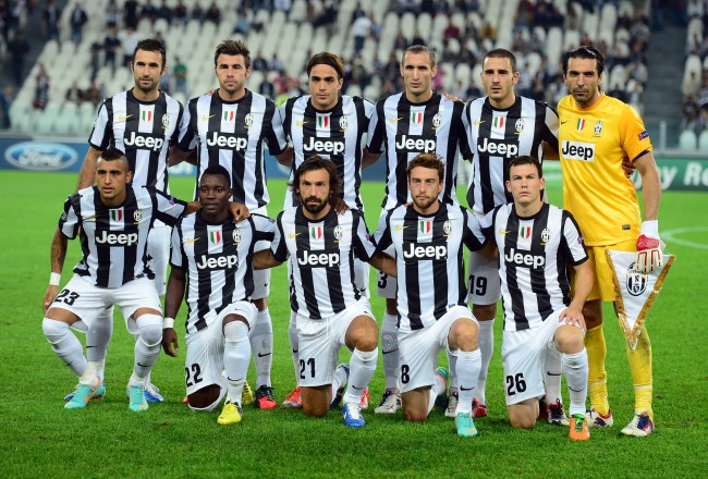(Bottom row, From L) Juventus' midfielder of Chile  Arturo Vidal, Juventus' midfielder of Ghana Kwadwo Asamoah, Juventus' midfielder Andrea Pirlo, Juventus' midfielder Claudio Marchisio and Juventus' Swiss defender Stephan Lichtsteiner,  (Top row, From L) Juventus' midfielder Claudio Marchisio, Juventus' forward Alessandro Matri, Juventus' defender Giorgio Chiellini, Juventus' defender Leonardo Bonucci and Juventus' goalkeeper Gianluigi Buffon pose before the Champions league match between Juventus and Shakhtar Donetsk, on October 2  2012 at the stadium of Alps in Turin. AFP PHOTO / OLIVIER MORIN        (Photo credit should read OLIVIER MORIN/AFP/Getty Images)