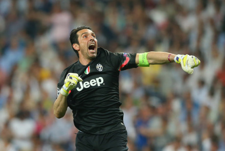 MADRID, SPAIN - MAY 13:  Goalkeeper Gianluigi Buffon of Juventus celebrates during the UEFA Champions League Semi Final second leg match between Real Madrid CF and Juventus at Estadio Santiago Bernabeu on May 13, 2015 in Madrid, Spain.  (Photo by Alex Livesey/Getty Images)