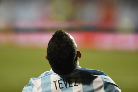 Argentine forward Carlos Tevez is seen during the 2015 Copa America football championship match, in Vina del Mar, on June 20, 2015.    AFP PHOTO / JUAN BARRETO        (Photo credit should read JUAN BARRETO/AFP/Getty Images)