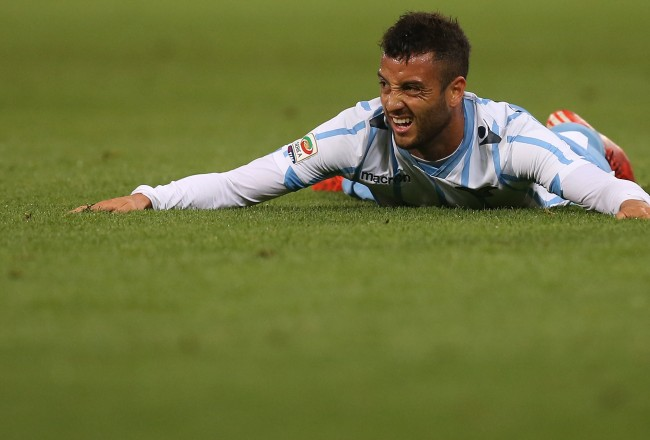 "Lazio's Brazilian Midfielder Felipe Anderson reacts during the Italian Serie A football match Sampdoria Vs Lazio on May 16, 2015 at ""Luigi Ferraris Stadium"" in Genoa.  AFP PHOTO / MARCO BERTORELLO        (Photo credit should read MARCO BERTORELLO/AFP/Getty Images)"