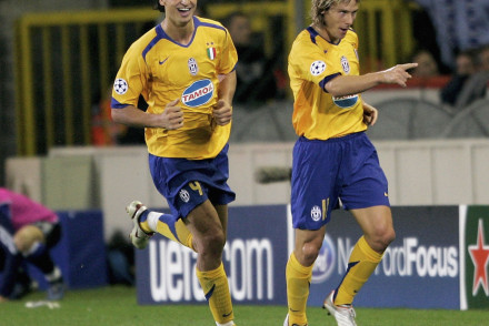 BRUGES, BELGIUM - SEPTEMBER 14:  Pavel Nedved of  Juventus celebrates his first goal with Zlatan Ibrahimovic during the UEFA Champions League Group A match between FC Bruges and Juventus Turin on September 14, 2005 in Bruges, Belgium.  (Photo by Christof Koepsel/Bongarts/Getty Images)