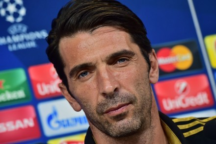 "Juventus' goalkeeper from Italy Gianluigi Buffon attends a press conference on the eve of the Champions League football match Juventus vs Sevilla FC at  the ""Juventus Stadium "" on September 29, 2015 in Turin.  AFP PHOTO / GIUSEPPE CACACE        (Photo credit should read GIUSEPPE CACACE/AFP/Getty Images)"
