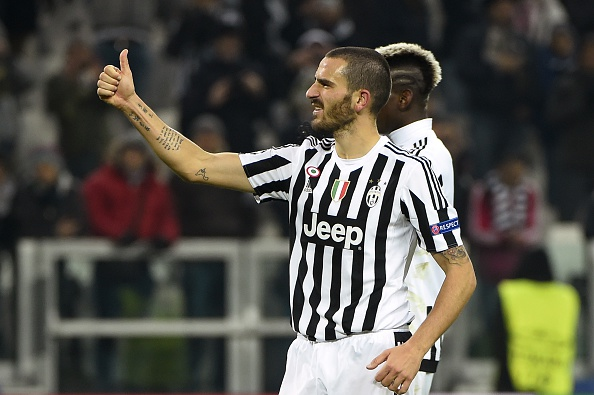 Juventus' defender from Italy Leonardo Bonucci celebrates at the end of the UEFA Champions League football match Juventus vs Manchester City on November 25, 2015 at the Juventus Stadium in Turin. Juventus won 1- 0      AFP PHOTO / OLIVIER MORIN / AFP / OLIVIER MORIN        (Photo credit should read OLIVIER MORIN/AFP/Getty Images)