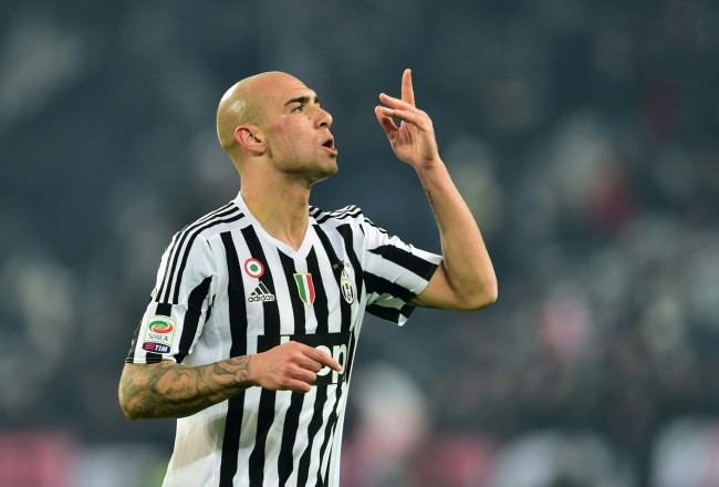 "Juventus' forward from Italy Simone Zaza celebrates after scoring a goal during the Italian Serie A  football match Juventus Vs Napoli on February 13, 2016 at the ""Juventus Stadium"" in Turin. / AFP / GIUSEPPE CACACE        (Photo credit should read GIUSEPPE CACACE/AFP/Getty Images)"