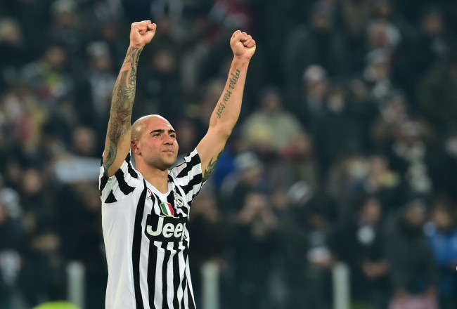 "Juventus' forward from Italy Simone Zaza celebrates at the end of the Italian Serie A  football match Juventus Vs Napoli on February 13, 2016 at the ""Juventus Stadium"" in Turin. / AFP / GIUSEPPE CACACE        (Photo credit should read GIUSEPPE CACACE/AFP/Getty Images)"