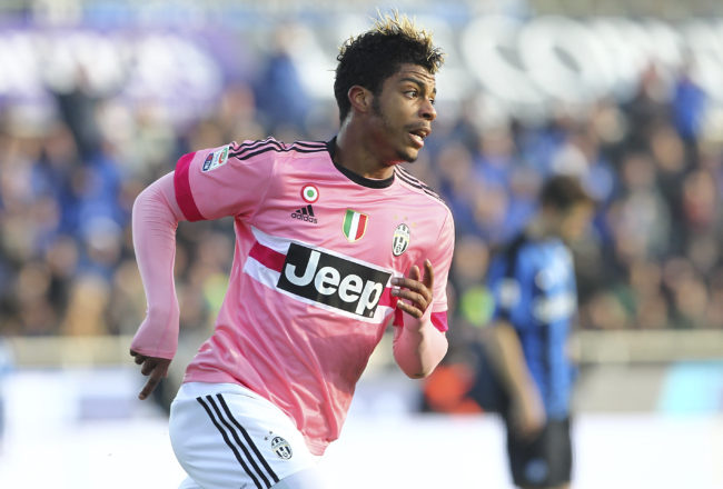 BERGAMO, ITALY - MARCH 06:  Mario Lemina of Juventus FC celebrates his goal during the Serie A match between Atalanta BC and Juventus FC at Stadio Atleti Azzurri d'Italia on March 6, 2016 in Bergamo, Italy.  (Photo by Marco Luzzani/Getty Images)