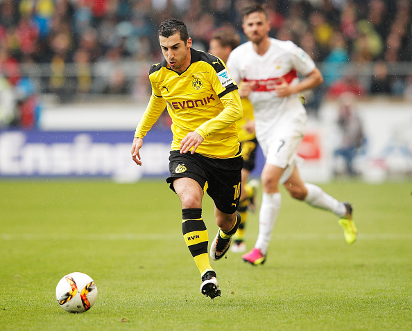 STUTTGART, GERMANY - APRIL 23: Henrikh Mkhitaryan of Borussia Dortmund of Borussia Dortmund controls the ball during the Bundesliga match between VfB Stuttgart and Borussia Dortmund at Mercedes-Benz Arena on April 23, 2016 in Stuttgart, Germany. (Photo by Adam Pretty/Bongarts/Getty Images)