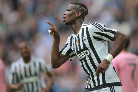 Juventus' midfielder Paul Pogba from France celebrates after scoring during the Italian Serie A football match Juventus vs Palermo on April 17, 2016 at the Juventus stadium in Turin.  / AFP / MARCO BERTORELLO        (Photo credit should read MARCO BERTORELLO/AFP/Getty Images)