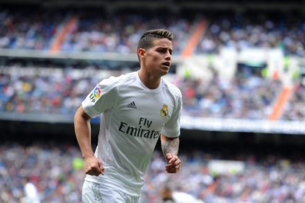 MADRID, SPAIN - APRIL 09:  James Rodriguez of Real Madrid goes to take a corner kick during the La Liga match between Real Madrid and Eibar at Estadio Santiago Bernabeu on April 9, 2016 in Madrid, Spain.  (Photo by Denis Doyle/Getty Images)