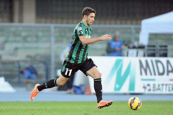 VERONA, ITALY - NOVEMBER 02: Sime Vrsaljko # 11 of US Sassuolo Calcio in action during the Serie A match between AC Chievo Verona and US Sassuolo Calcio at Stadio Marc'Antonio Bentegodi on November 2, 2014 in Verona, Italy. (Photo by Mario Carlini / Iguana Press/Getty Images)