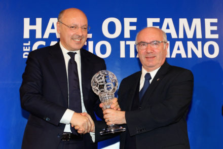 FLORENCE, ITALY - JANUARY 19:  (L-R) Juventus General Director Giuseppe Marotta and Italian Federation President Carlo Tavecchio pose showing the award during the Italian Football Federation Hall of Fame Award ceremony at Palazzo Vecchio on January 19, 2015 in Florence, Italy.  (Photo by Paolo Bruno/Getty Images)