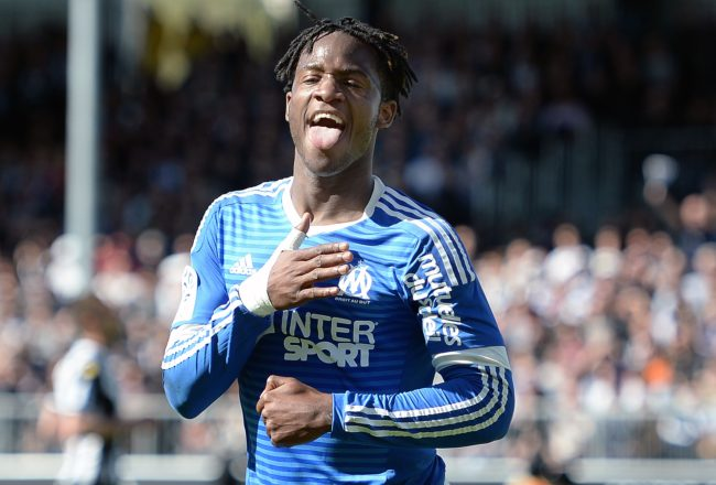 Marseille's Belgian forward Michy Batshuayi celebrates after scoring during the French L1 football match between Angers and Marseille on May 1, 2016 at the Jean Bouin stadium in Angers, western France.  AFP PHOTO / JEAN-SEBASTIEN EVRARD / AFP / JEAN-SEBASTIEN EVRARD        (Photo credit should read JEAN-SEBASTIEN EVRARD/AFP/Getty Images)