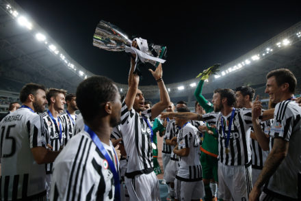 SHANGHAI, CHINA - AUGUST 08:  Martin Caceres (C) of Juventus celebrates with with teammates after winning the Italian Super Cup final football match between Juventus and Lazio at Shanghai Stadium on August 8, 2015 in Shanghai, China.  (Photo by Lintao Zhang/Getty Images)