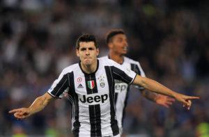 Alvaro Morata of Juventus FC celebrates after scoring the opening goal
