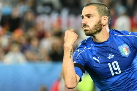 Italy's defender Leonardo Bonucci celebrates scoring a penalty shot