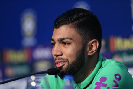 Brazil's football team player Gabriel, aka Gabigol,  speaks during a press conference before a training at their hotel in Viamao, Brazil, on March 27, 2016. Brazil will face Paraguay on March 29 in a FIFA World Cup Russia 2018 South American qualifier. AFP PHOTO/Jefferson BERNARDES / AFP / JEFFERSON BERNARDES        (Photo credit should read JEFFERSON BERNARDES/AFP/Getty Images)
