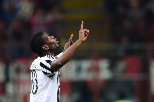 Paul Pogba celebrates after scoring a goal during the Italian Serie A football match