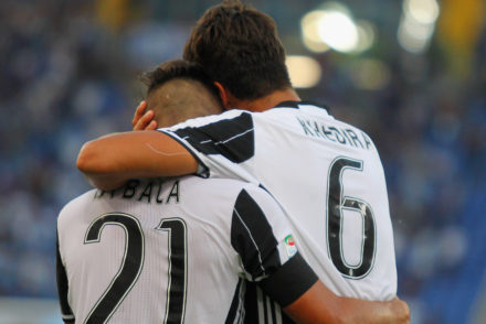 ROME, ITALY - AUGUST 27:  Sami Khedira #6 with his teammate Paulo Bruno Exequiel Dybala of Juventus FC celebrates after scoring the opening goal during the Serie A match between SS Lazio and Juventus FC at Stadio Olimpico on August 27, 2016 in Rome, Italy.  (Photo by Paolo Bruno/Getty Images)