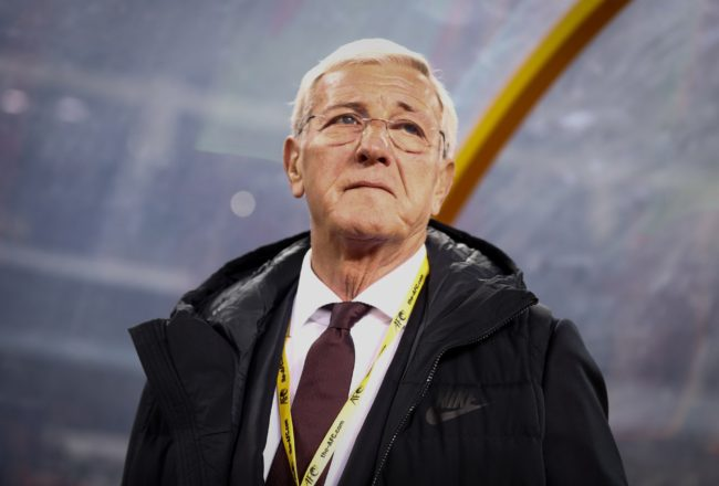 China's coach Marcello Lippi watches from the sideline during the team's  2018 FIFA World Cup qualifying match against Qatar in Kunming, in China's Yunnan province on November 15, 2016.   CHINA OUT / AFP / STRINGER / China OUT        (Photo credit should read STRINGER/AFP/Getty Images)