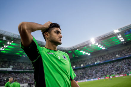 MOENCHENGLADBACH, GERMANY - AUGUST 24: Mahmoud Dahoud of Moenchengladbach leaves the pitch prior the UEFA Champions League Qualifying Play-Offs Round: Second Leg between Borussia Moenchengladbach and YB Bern at Borussia-Park on August 24, 2016 in Moenchengladbach, Germany. (Photo by Maja Hitij/Bongarts/Getty Images)