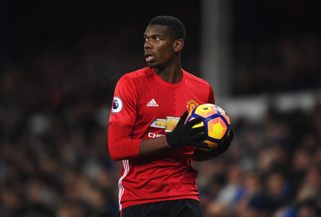 LIVERPOOL, ENGLAND - DECEMBER 04:  Paul Pogba of Manchester United takes a thrown in during the Premier League match between Everton and Manchester United at Goodison Park on December 4, 2016 in Liverpool, England.  (Photo by Laurence Griffiths/Getty Images)