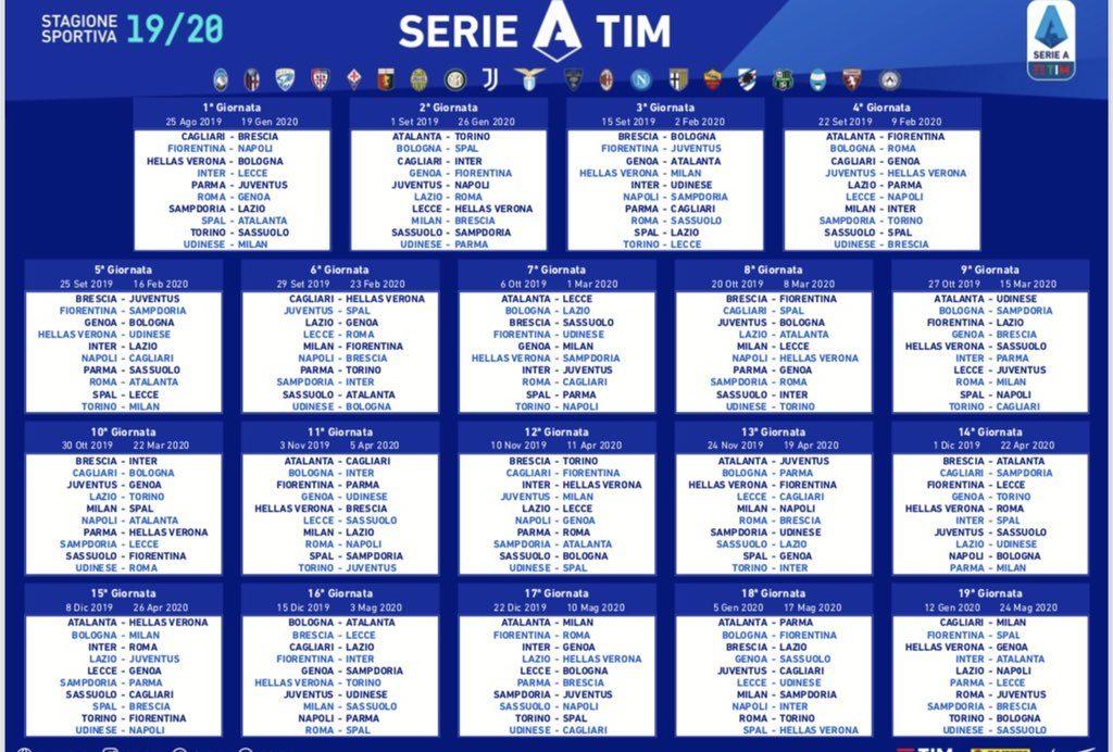 Serie A 2019/20 calendar announced -Juvefc com